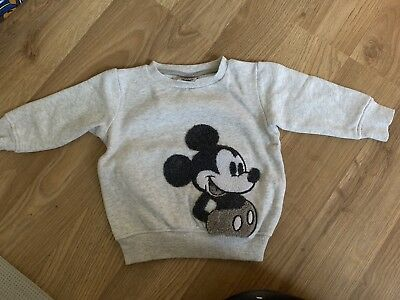 NEXT Baby Boys Grey Mickey Mouse Jumper Age 6-9 Months WORN ONCE
