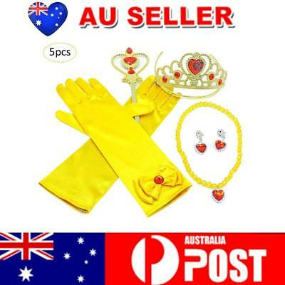 AU 5PCS Girl Princess Gloves Wand Tiara Necklace Belle Dress up Party Accessory