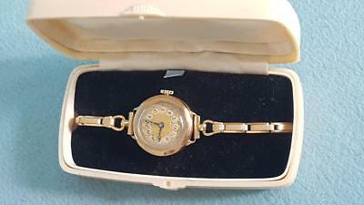 Swiss 9ct Gold Vintage Art Deco Lady's Watch in Original Cream Bakelite Box