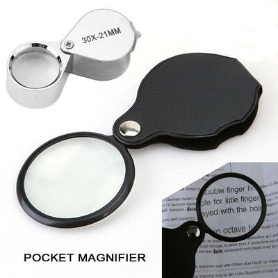 Magnifier Glass Pocket 30X 5X Small Size Optical Magnifying Lens Mini Eye Loupe