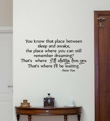 Peter Pan Quote Wall Decal Disney Vinyl Sticker Decor Baby