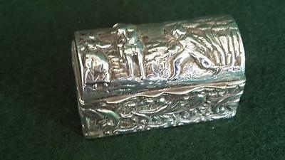 Very Unusual HM Antique Sterling Silver Repoussé Trinket Eloping Scene Ches 1908