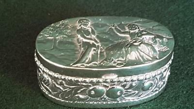 Collector's Very Heavy Antique Trinket Snuff Box w German Hanau Silver Mark 46g