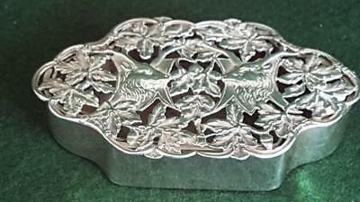 Large Edwardian H/M Sterling Silver Pierce Stags Top Trinket Box B'ham 1907 83g