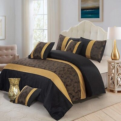 3 Piece Faux Silk Black & Gold King Size Quilted Bedspread With 2 Pillow Cases