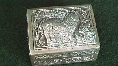 Delightful Antique Turkish 900 Silver Small Trinket Pill Box w Repousse Pony Lid