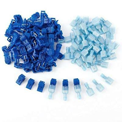 Quick Splice Wire Cable Connector Electrical Joint Clip Lock, Blue, 50 Pairs