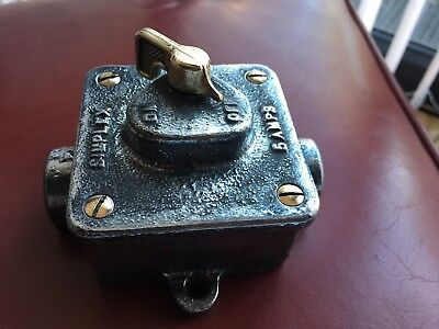 Vintage Industrial light switch Simplex Polished Galvanised Cast Iron & brass
