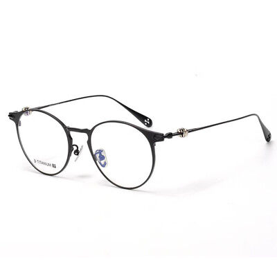 CH Hearts Titanium Biker Punk Retro Round Frame Optical Glasses Chrome Style