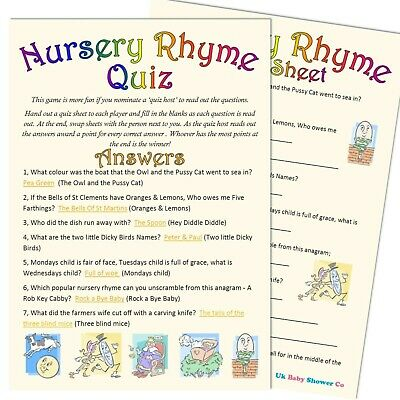 Baby Shower Game 10 Player - NURSERY RHYME QUIZ - Unisex Party, Neutral Boy Girl