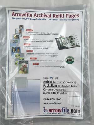 """1 x Pack Arrowfile Archival Refill Pages, Holds twelve 4 x 4"""" items 10x per pack"""