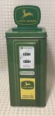 John Deere Metal Coin Bank Collectible Tractor Gas Pump Green & Yellow