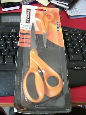 Fiskars 2 Pair Heavy Duty No.8 Bent,No.5 MicroTip Scissors / Lifetime Warranty