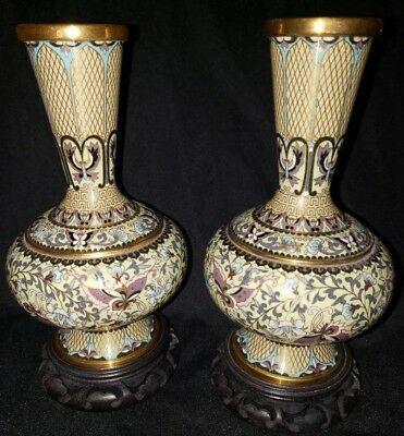 antique Chinese matching cloisonne vases with butterflies and flowers