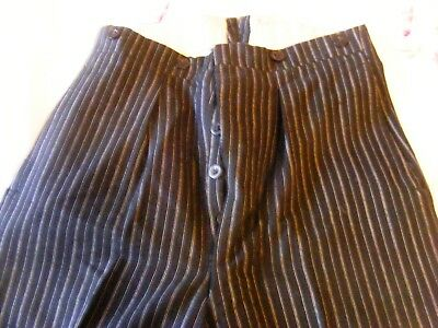 "Vintage WW11 era mens 1940s wool trousers button fly turn- ups waist 30"" ISL 29"""
