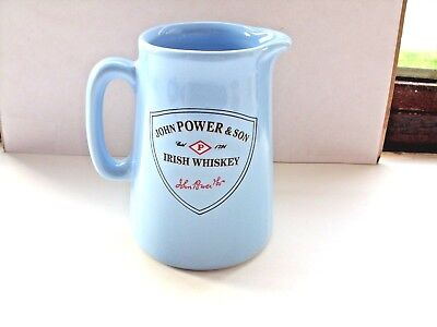 john power irish whiskey water jug light blue no markings on the base in VGC