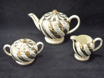 Beautiful Vintage Sadler Gold Swirl Teapot with Milk Jug and Sugar Bowl