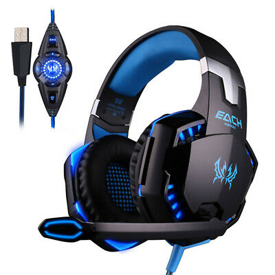 3.5mm Gaming Headset Mic LED Blue Headphones Stereo Surround for Laptop PS4 XbEL