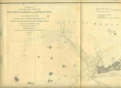 Key West Harbor & Approaches Florida Coast Survey Map 1851 Preliminary Chart