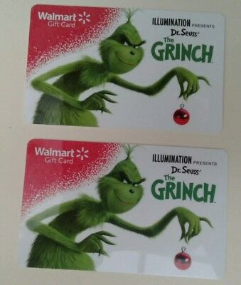 2  New Walmart The GRINCH DR. Seuss Gift Cards, Holiday 2018 Collectible, Mint