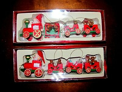 Vintage Wooden Christmas Train Ornaments In Original Box~Lot Of 2~Holiday Decor