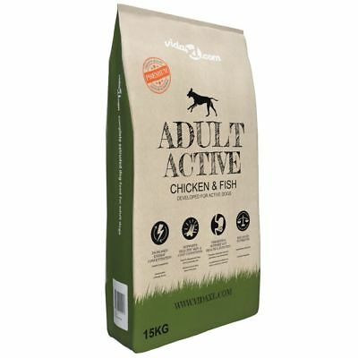 vidaXL Nourriture Sèche de Chiens Adult Active Chicken & Fish 15 kg Croquettes