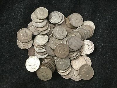 8% Cash Back...20 Franklin Silver Half Dollars 1 Roll $10 Face 90%