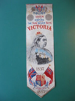 1887 Stevengraph silk bookmark QUEEN VICTORIA Golden Jubilee book mark T Stevens