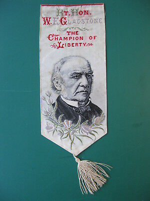 Stevengraph silk BOOKMARK RT. HON. W E GLADSTONE book mark Thomas Stevens