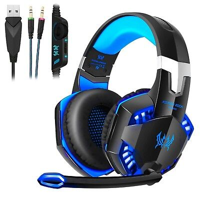 3.5mm Gaming Headset MIC LED Headphones for PC Mac Laptop PS4 Slim Xbox One EL