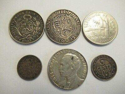 Lot of 6 foreign silver Coins, mixed countries, mixed denominations