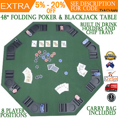 "Folding Poker Table 48"" Blackjack Games Top with Cup Holders portable game table"