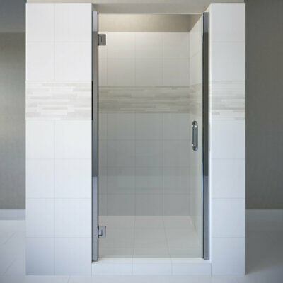"Basco Coppia 34.56"" X 76"" Hinged Frameless Shower Door Chrome AquaGlideXP Clear"
