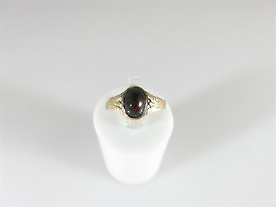 Antique Victorian Cabochon Bloodstone 10K Gold Children's Ring Size 2 1/2