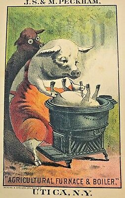 Victorian Vintage JS & M Peckham Trading Card Anthropomorphic Pig Cooking Pork!