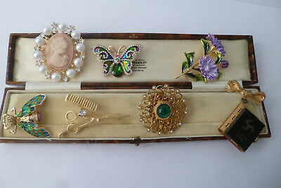 Vintage Jewellery A Gorgeous Mixed Job Lot Of Brooches Pins Various Eras