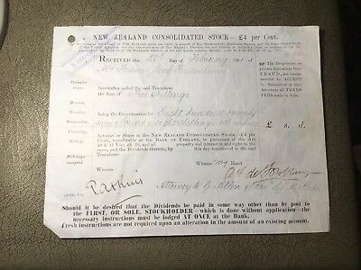 1901 Share Certificate New Zealand Consolidated Stock £4 %