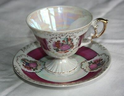 Vintage Burgundy / Gold Courting Couple Footed Teacup and Saucer Lusterware