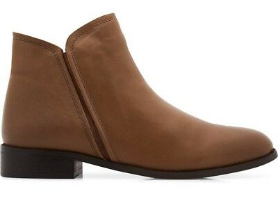 FREE POSTAGE New Leather Look Tan Brown Glenfield Ankle Boots From NOVO size 6au