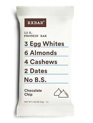 RXBAR WHOLE FOOD PROTEIN BAR CHOCOLATE CHIP 1.83 OZ 12 Pack FREE SHIP