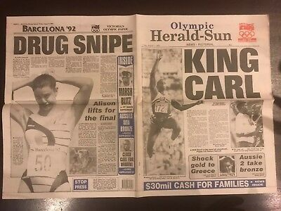 Herald Sun Newspaper Page - Olympic Games Friday August 7, 1992 - Carl Lewis