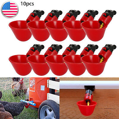 10-Pack Poultry/Chicken Water Drinking Cups Feeder Hen Quail Automatic Drinker