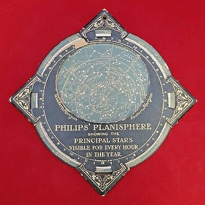 Vintage Phillip's Planisphere Showing The Principal Stars For Every Hour