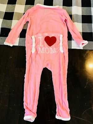 KicKee Pants Coverall 6-12 months Pink with backflap Valentine I ❤️ Mom Girl