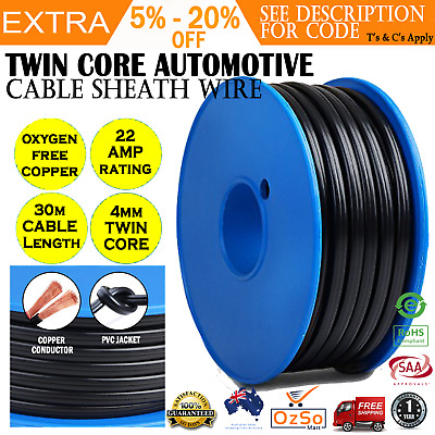 Automotive Twin Core Wire 30M 4MM SAA 2 Sheath Electrical Cable Caravan 4X4 12V