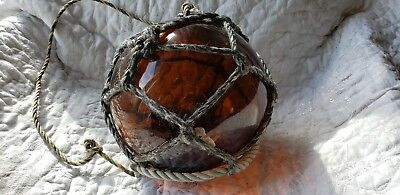 Beautiful Antique Amber Japanese? Hand-Blown Glass Fishing Float with Barnacles