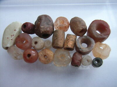 20 Ancient Neolithic Rock Crystal, Carnelian, Red Jasper.. Beads, Stone Age TOP!