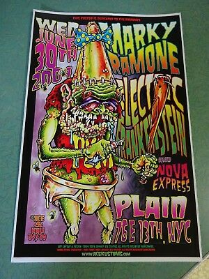 """JOHNNY ACE MARKY RAMONE GIG POSTER SIGNED 2009 # 6/50 11x17 ED """"BIG DADDY"""" ROTH"""