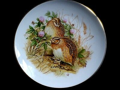 FENTON CHINA STAFFORDSHIRE Quail Birds/ Clover 9 1/4 in Display Cabinet Plate