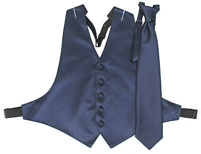 Men's Navy Blue Satin Open-Back Tuxedo Vest and Matching Long Windsor Tie 2XL